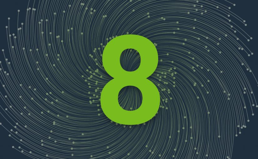 Bright green number eight in the dark grey background