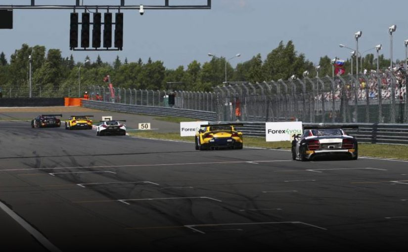 Forex4you Blancpain sponsorship banners on the racing track