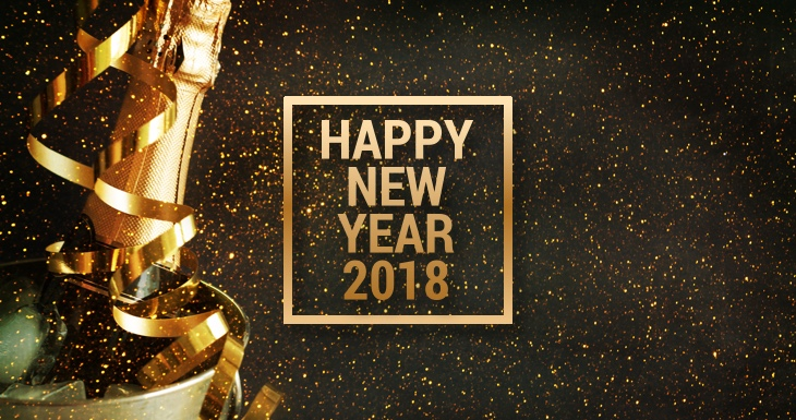 Happy New Year 2018 greeting card, bottle of champagne and sparkles