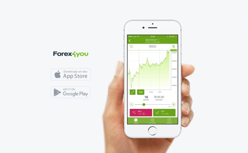 hand holding phone with Forex4you mobile app displayed on the screen, icons for download