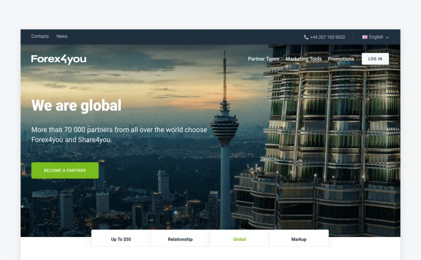 Forex4you partner website home page image, become Forex4you partner