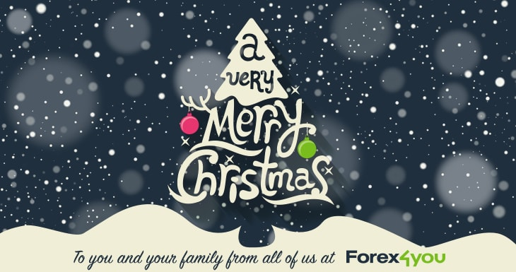Forex4you Christmas greeting card with drawn christmas tree in the middle