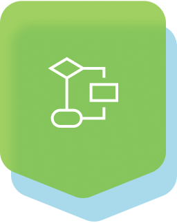 Green icon with connections schema