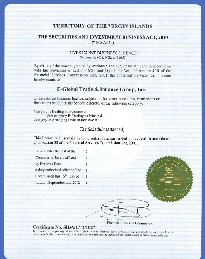 E-Global Trade & Finance Group, Inc. BVI. lesen