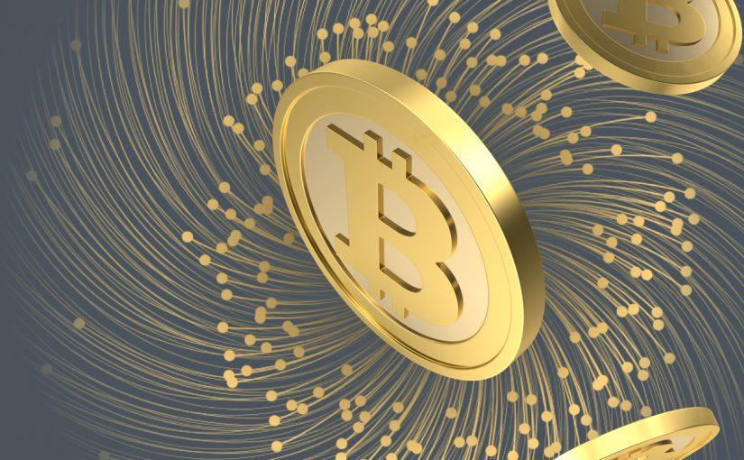 Ikon bitcoin kuning dalam latar belakang biru gelap