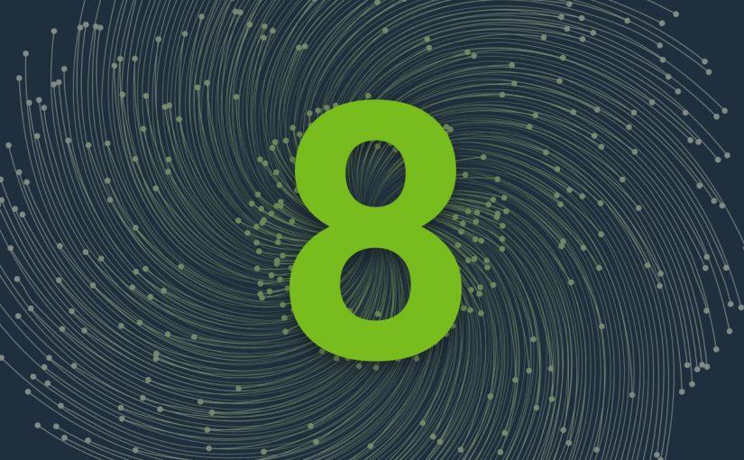 Nombor hijau terang lapan dalam latar belakang kelabu gelap