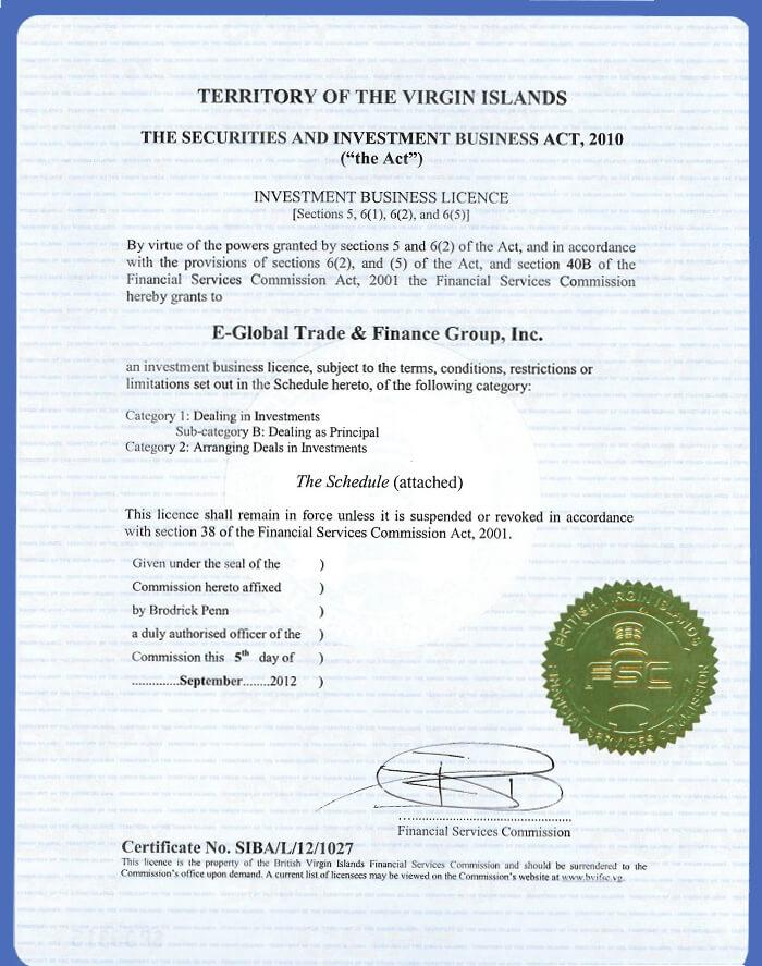 Tập đoàn Tài chính & Thương mại Toàn cầu, Inc. BVI. giấy phép
