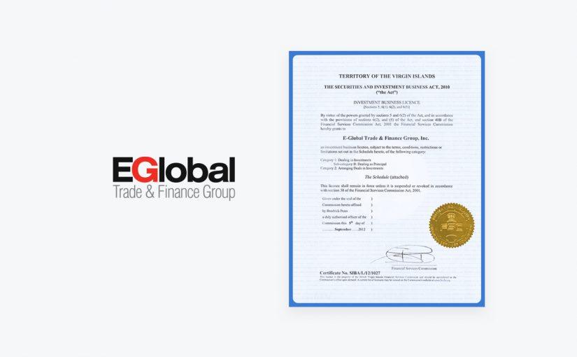 Hình ảnh giấy phép Forex4you FSC BVI, Logo Tập đoàn Thương mại & Tài chính EGlobal