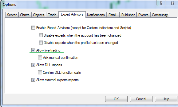 Allow live trading in MetaTrader 4