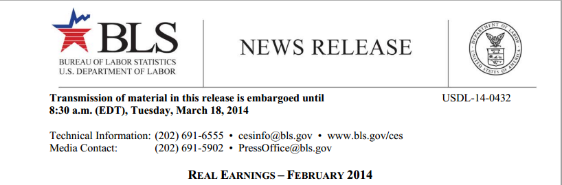 Real Earnings report on BLS website
